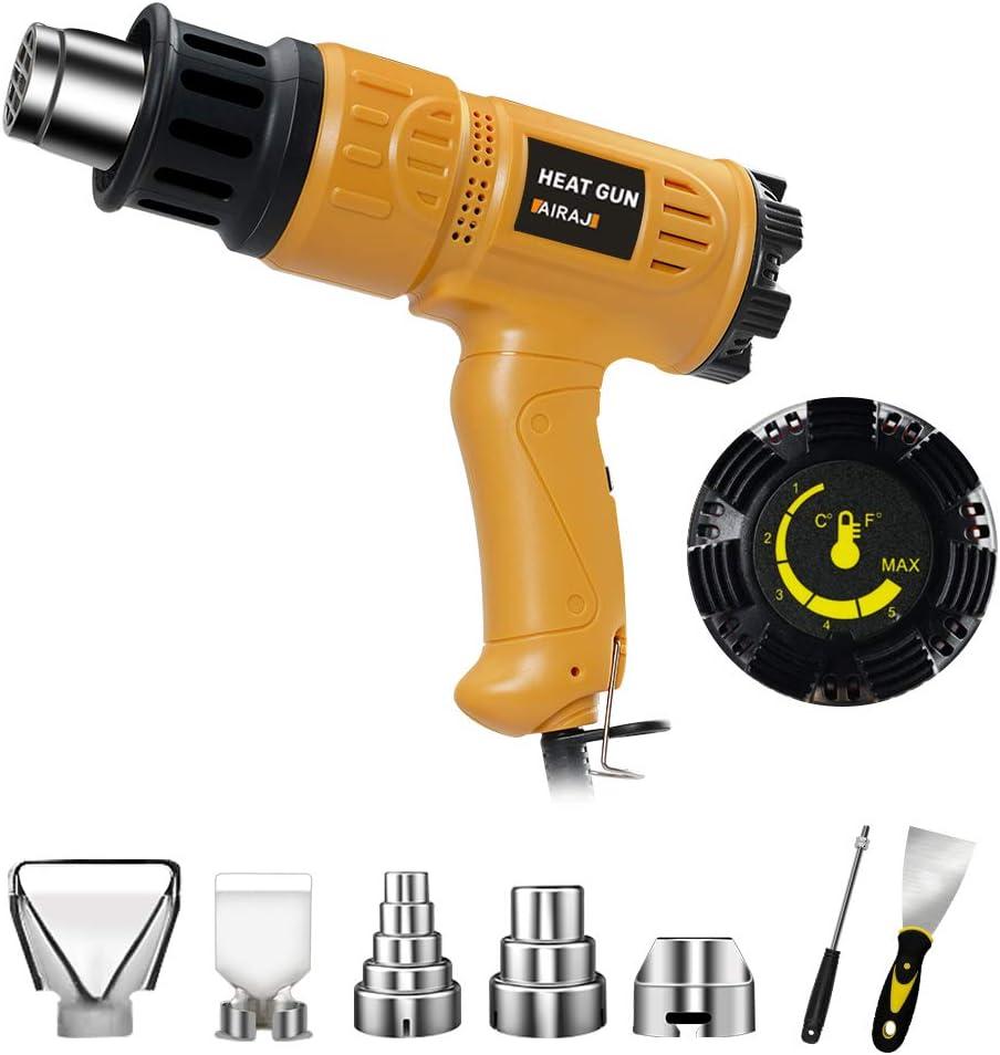 Pistola de calor, AIRAJ 1800 W 220 V 50 ℃ - 600 ℃ Kit de pistola de aire caliente con control de temperatura variable para manualidades, quitar pintura, barniz, disolver adhesivos