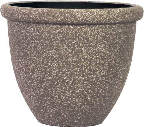 Stone Light SB Series Cast Stone Round Planter, 14.5-Inch, Mocha Sandstone, 6-Pack
