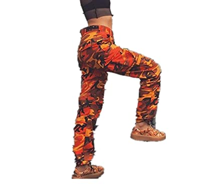 FZZ698 Pantalones vaqueros sueltos de camuflaje para mujer ...