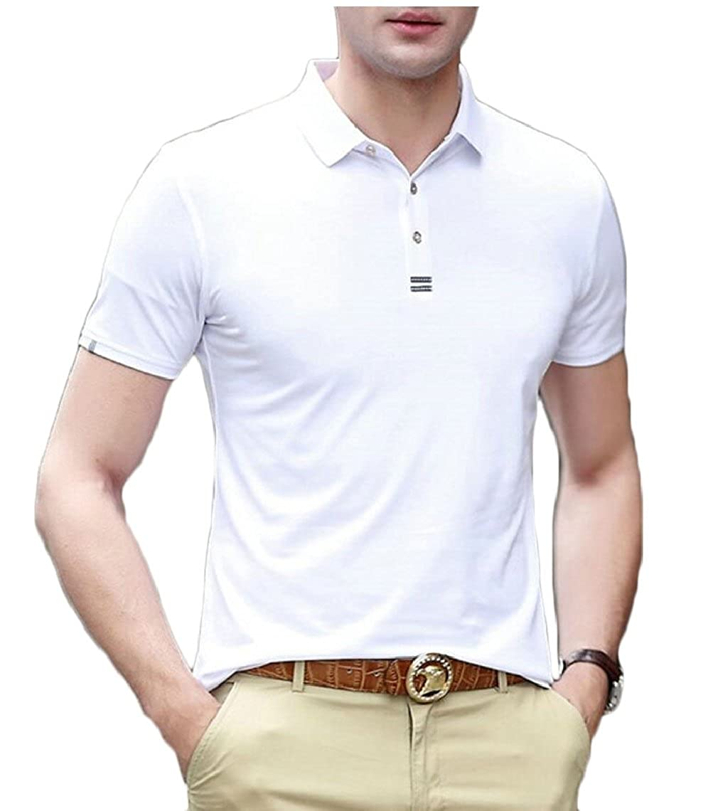 Yayu Mens Casual Slim Fit Short Sleeve Solid Polo Shirts