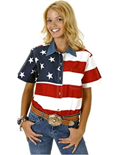 5da5df0fa Woven Long Sleeve American Flag Women's Polo Shirt at Amazon Women's ...