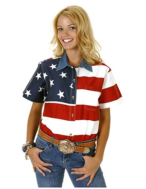 750a5277 Roper Women's S/S Stars and Stripes Pieced Flag