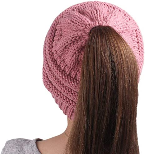 AEGKH CC Ponytail Beanie Sombreros de Invierno para Mujer Crochet ...