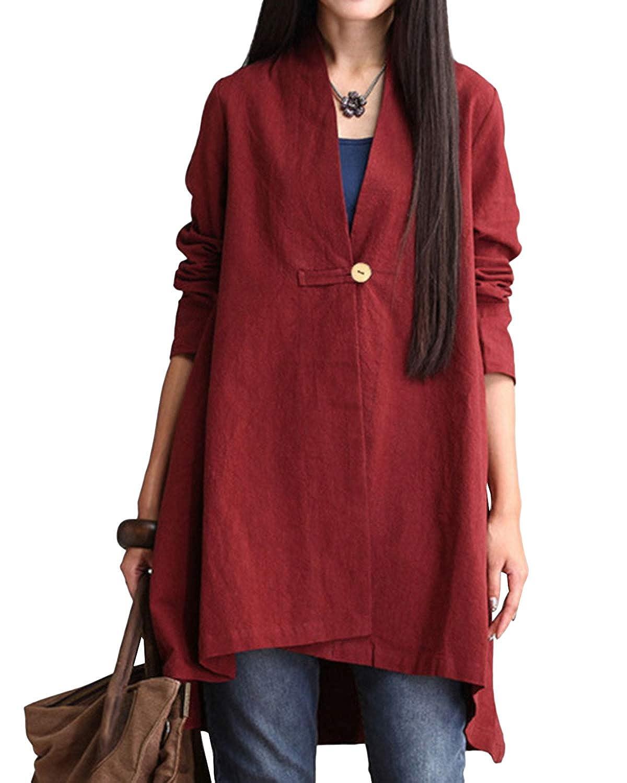 AUDATE Womens Baggy Cotton Linen Cardigan Coat V Neck Blouse Top with Button M-5XL AUDATE-FB0000154@880