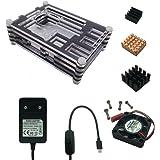 XINYUWIN Raspberry Pi Kit Alimentation Adaptateur 5V 3A avec interrupteur / Boîtier avec 9 couches / Ventilateur (Brushless DC Fan) / Dissipateur thermique Pour Raspberry Pi 3 Model B / 2 modele B (B Plus) Incompatible avec le pi3 b+