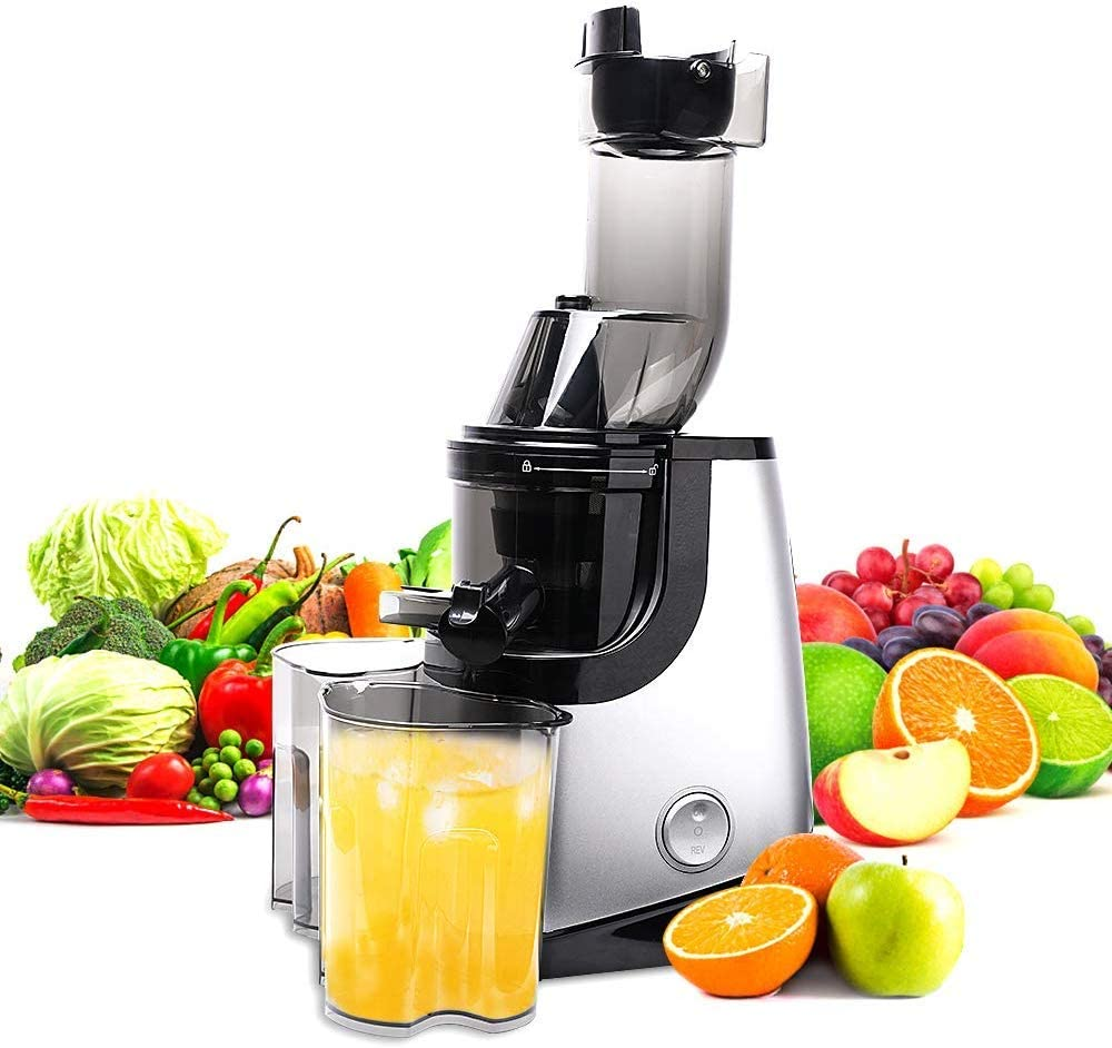 Slow Juicer Masticating Juice Extractor Professional Machine with Quiet Motor Reverse Function Cold Press Juicer with Brush Easy to Clean High Nutrient Fruit Vegetable Orange Juice Maker Juicers
