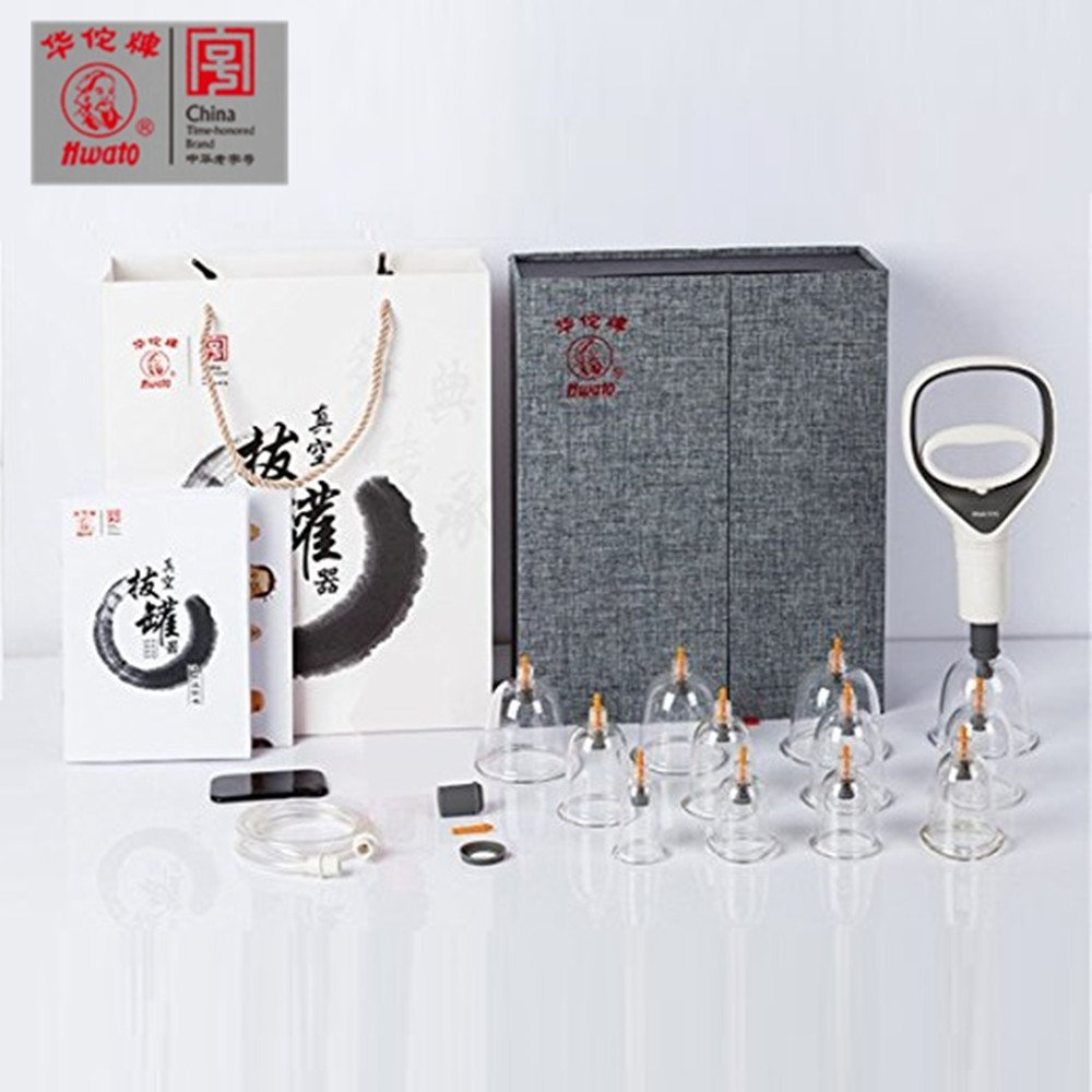 Chinese Ancient Acupuncture Therapy Method Cupping Set, with Gifts for 1 Gua sha Tool/4 Moxa Columns/5 Color Map of Human Acupoints/2 Acupoint Treatment Indicate Char (High-end 12 Cups,Century Hwato)
