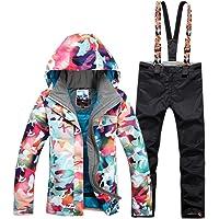 GsouSnow Women's Waterproof Windprooof Hooded Ski Suit Jackets Coat Bib Pants Removable Warm Rain Outdoor Insulated Winter Trousers