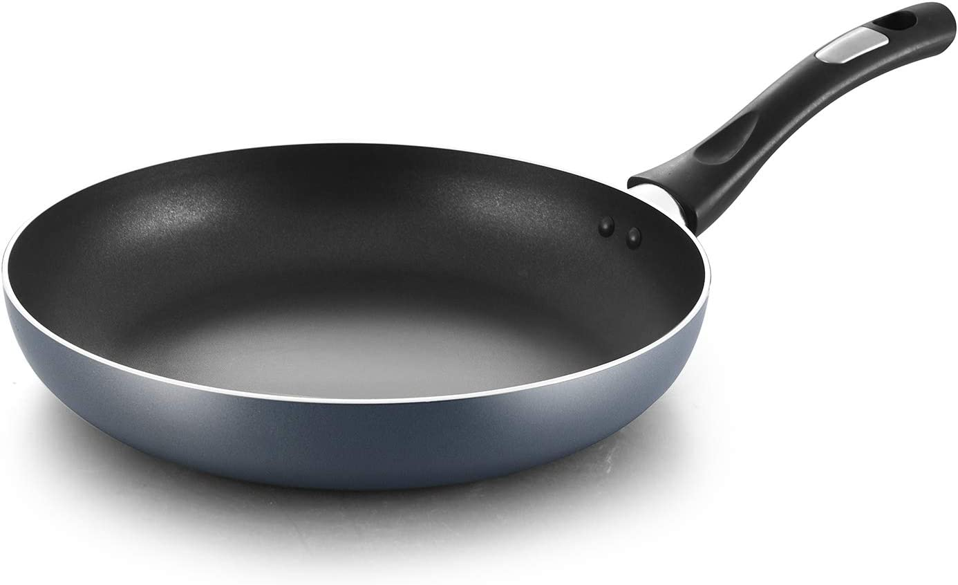 COOKER KING 10 Inch Nonstick Frying Pan PFOA/Toxin Free, Induction Skillet, Anti-Warp Base, Saute Pan With soft Handle, Dishwasher safe Crepe Pan, Oven Safe Skillet, Nonstick Omelette, 10'', Blue