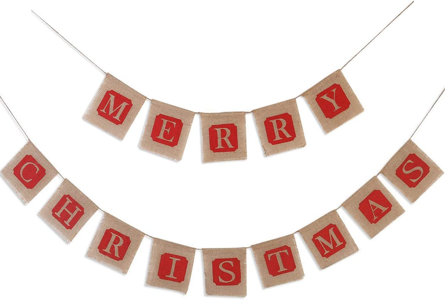 Christmas Banner Burlap, Merry Sign Christmas Bunting, Jute Banners Garlands, Holiday Natural Bunting, Great for Xmas Party Decoration Photo Prop Décor, Christmas Banner, Party Supplies