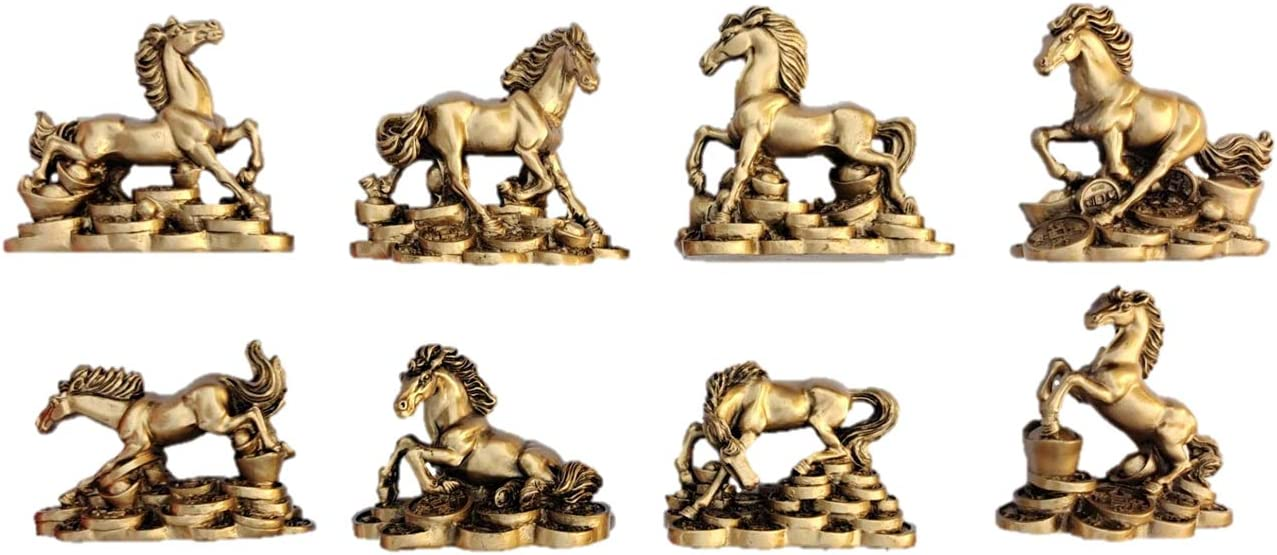 3 inch Horse Statue Resin Standing Running Loving Playing Fighting Different Forms Brass Color Money Horse Sculpture Set of 8 Art Figurine Decorative Home Decor Birthday Gift Office Collection