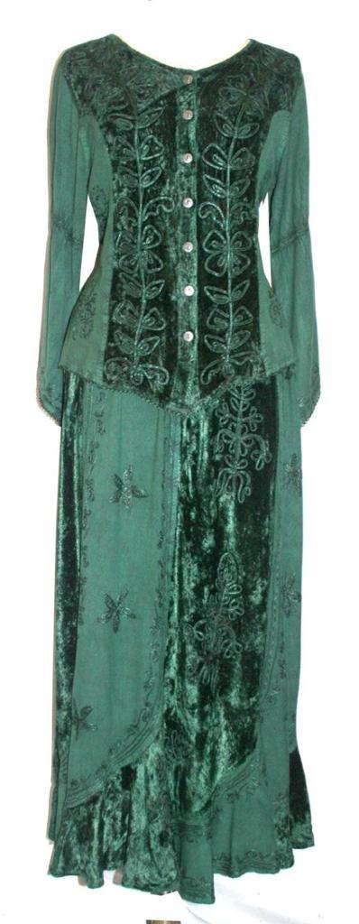 Agan Traders 552 Sk Dancing Gypsy Medieval Renaissance Vintage Skirt (L/XL, H Green) by Agan Traders (Image #3)