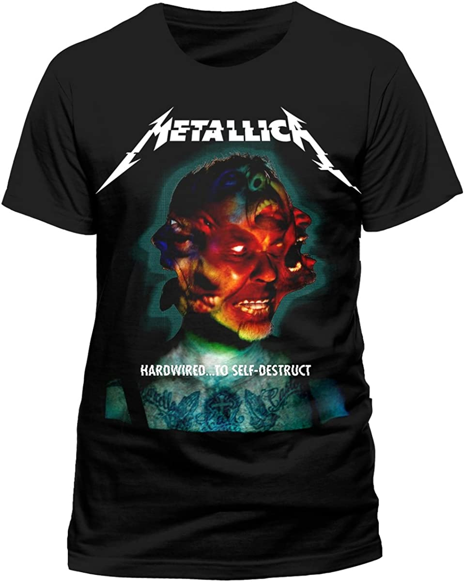 Metallica Hardwired Album Cover_Men_bl_TS:1XL Camiseta, Negro (Black Black), X-Large para Hombre