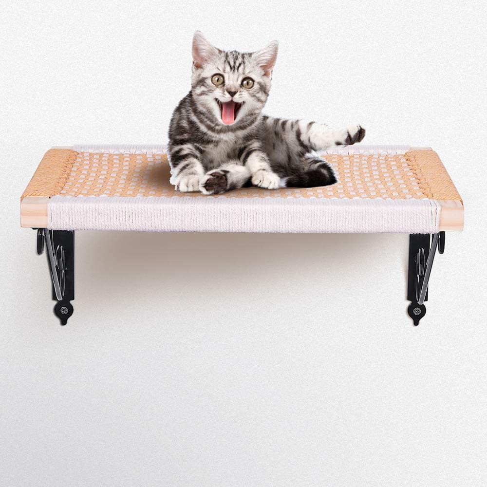 Purife Wooden Wall Mount Cat Perch, Cotton Wire Hand Crafted Cat Shelves, Strong Cat Window Sill Perch Hammock Seat, Cat Kitty Bed, Cat Cloud Steps, Cat Furniture for Climbing Relaxing and Playing