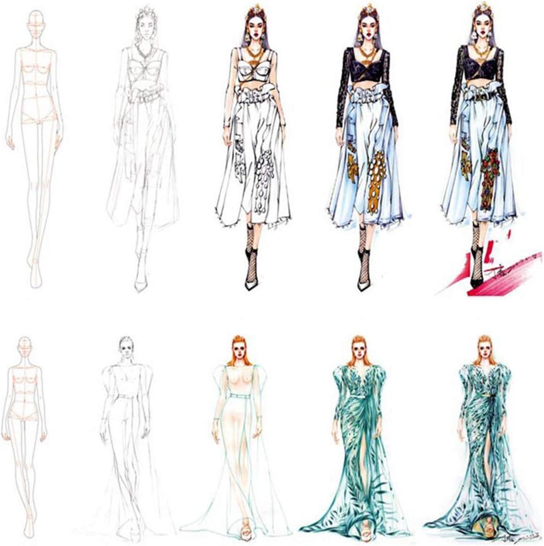 WellieSTR 3 Stlye Fashion Ruler Fashion Line Drawing Human Dynamic Template for Cloth Rendering