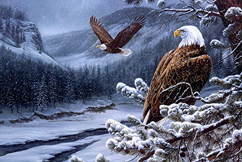 GLITZFAS - The Wild Bald Eagles Painting Winter - Art Print On Canvas Poster - Unframed - 36x24 Inches