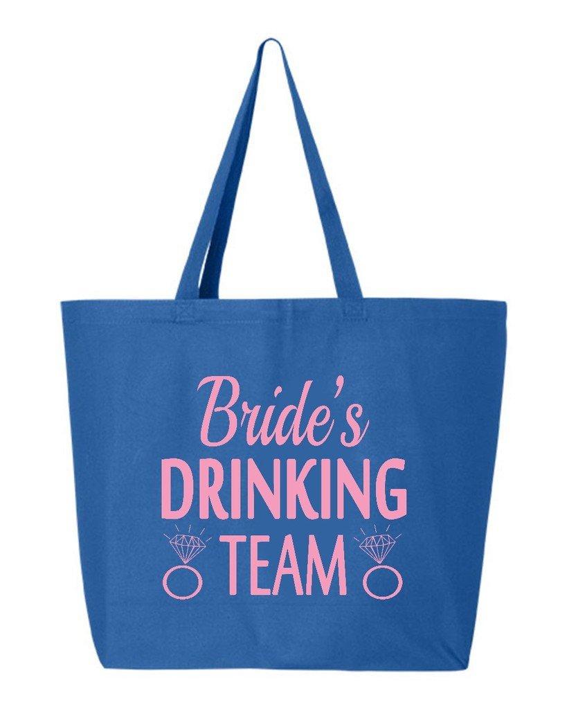 shop4ever Bride 's Drinking Teamピンクヘビーキャンバストートバッグウェディング再利用可能なショッピングバッグ10オンスジャンボ 25 oz ブルー S4E_1215_BrdDrkTmPnk_TB_Q600_R Blue_2 B06XH65F2C  ロイヤル