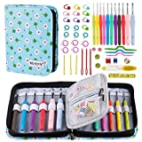 Arts & Crafts : BONTIME Crochet Hooks Set - 11 Pieces Ergonomic Crochet Needles with Portable Case, Contains All the Knitting Accessories Fit Any Projects,Ideal for Crocheters with Arthritic,Lucky Clover Print