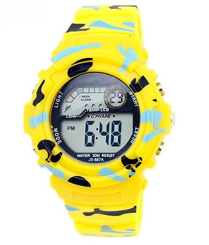 Multi función impermeable al aire libre niños reloj para la práctica de deportes diseño de camuflaje Digital reloj amarillo: Amazon.es: Relojes