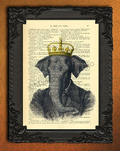 Dressed elephant with golden crown artwork animal portrait king poster safari decor on dictionary page antique french wall art print royal decorations ()
