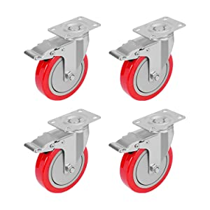 PRITEK 5 inch Plate Caster Wheels with Safety Dual Locking Set of 4 No Noise Heavy Duty Swivel Casters All with Brake Total Bearing 1400lbs