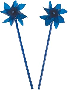 Fun Express Pinwheels for Kids (Bulk Set of 36) Great for Weddings, Yards and Garden Decor (Blue)