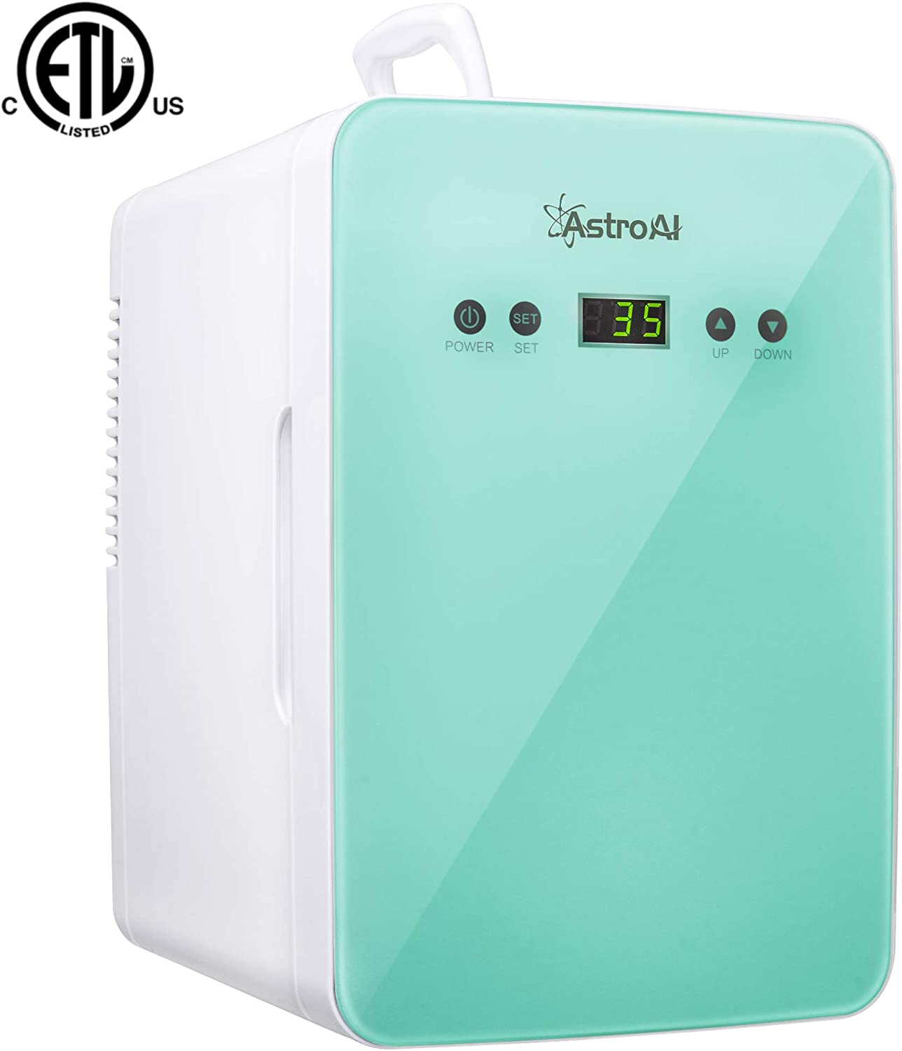 AstroAI Mini Fridge 6 Liter/8 Can Skincare Fridge - with Temperature Control - AC/12V DC Portable Thermoelectric Cooler and Warmer for Bedroom, Cosmetics, Medications, Breastmilk (Teal)