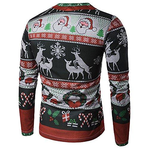 Blouse Xmas Men's Printing Autumn T Clearance Sale Classic Top sleeved Long PASATO Men Winter shirt Multicolor Christmas qn1qOxw