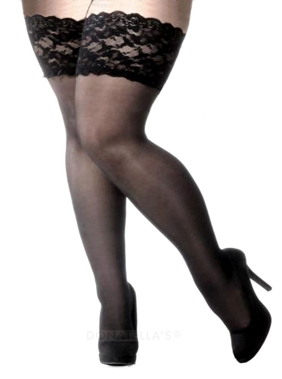 Plus Size Lace Stay Up Thigh High Stockings (5x, Black)