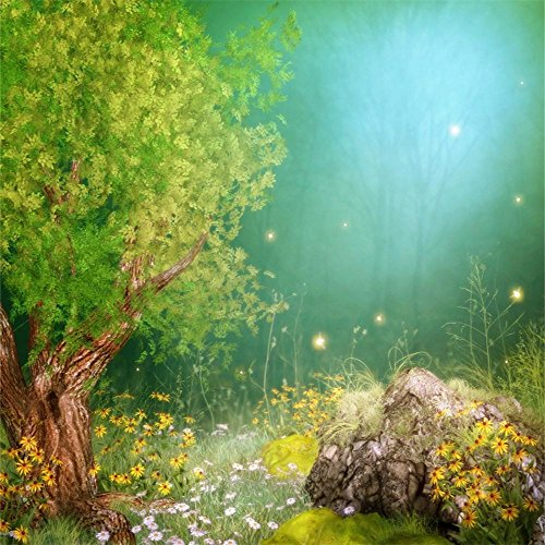 Laeacco Vinyl Thin 5X5FT Photography Background Big Tree Stone Flowers Firefly Fairy Tale Fantasy Forest Night Scene Kids Adults Portraits Photography Backdrop 1.5(W) x1.5(H) m Photo Studio Props -