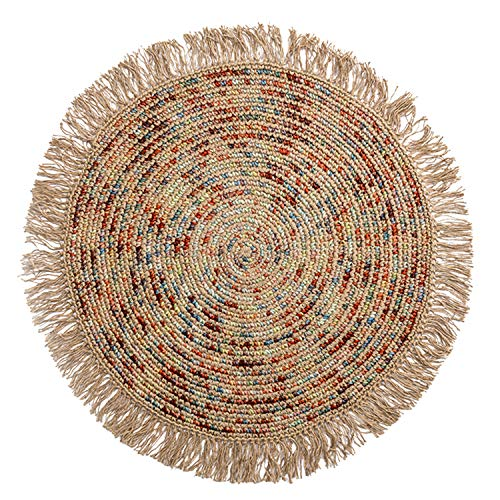 QYQCX Round Hand-Woven Carpet, Colorful Doormat, Jute Wool Living Room Bedroom Rug, Housewarming Gift, 90cm