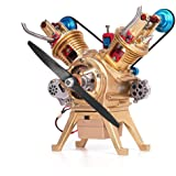 Yamix Mini DIY Engine Model Toy, Full Metal Assembling V2 Double Cylinder Car Engine Model Building Kits for Adults