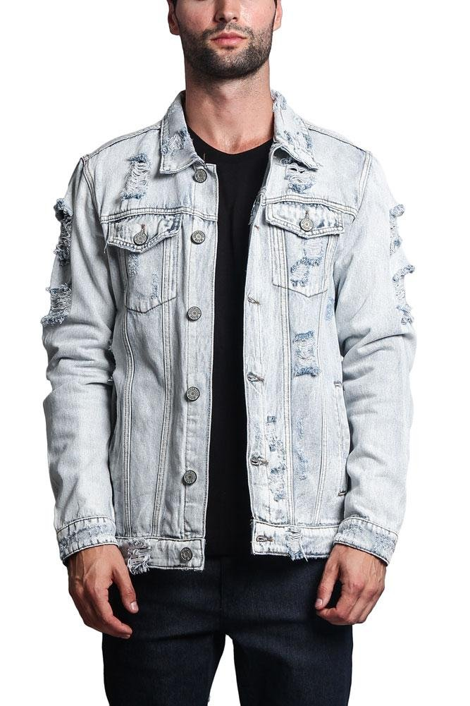 Victorious G-Style USA Distressed Denim Jacket DK100 - Light Indigo - 3X-Large - II7C by Victorious
