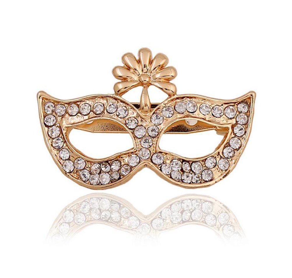 Hosaire Brooch Pin Women's Golden Mask Broochpin with Rhinestones Breastpin for Wedding/Bouquet