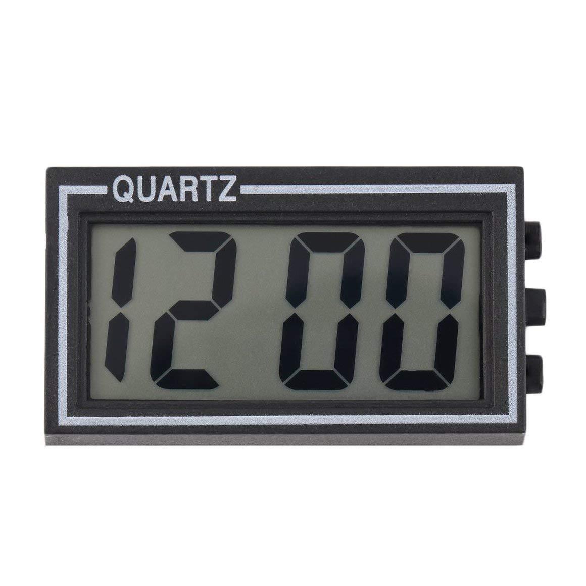 Funnyrunstore Noir En Plastique Petite Taille Num/érique LCD Table De Voiture Tableau De Bord Bureau Date Heure Calendrier Petite Horloge Avec Fonction Du Calendrier TS-CD92