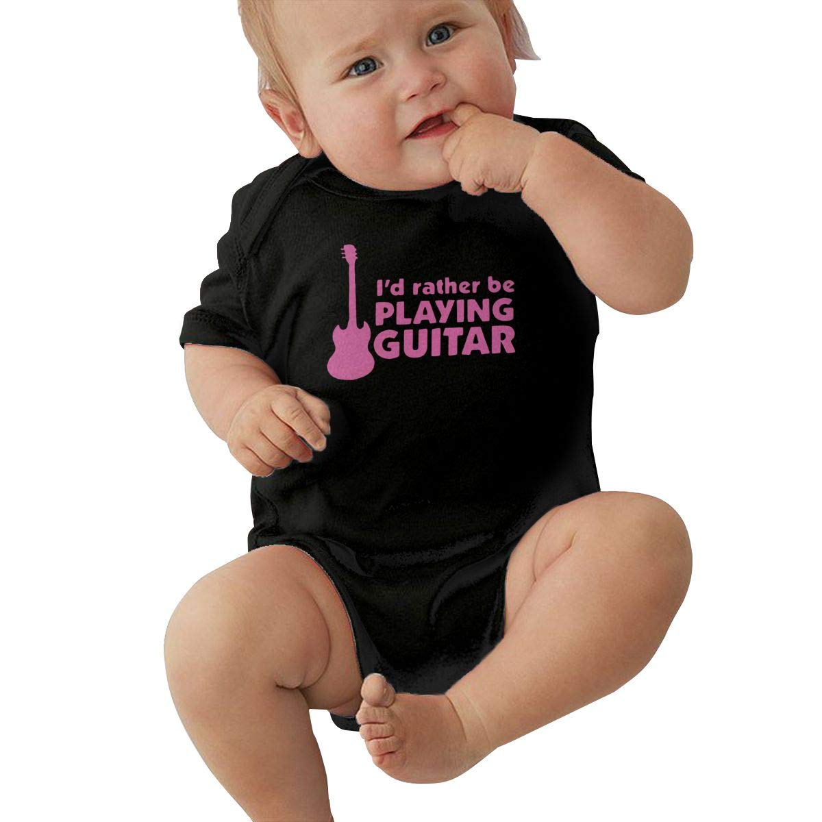 Id Rather Be Playing Guitar Infant Baby Girl Boy Romper Jumpsuit Outfit Short Sleeved Bodysuit Tops Clothes
