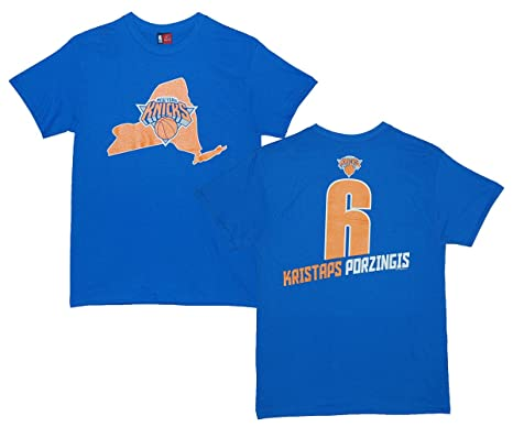 another chance 02543 0a704 Majestic Athletic Kristaps Porzingis New York Knicks #6 NBA Men's Record  Holder Player T-Shirt