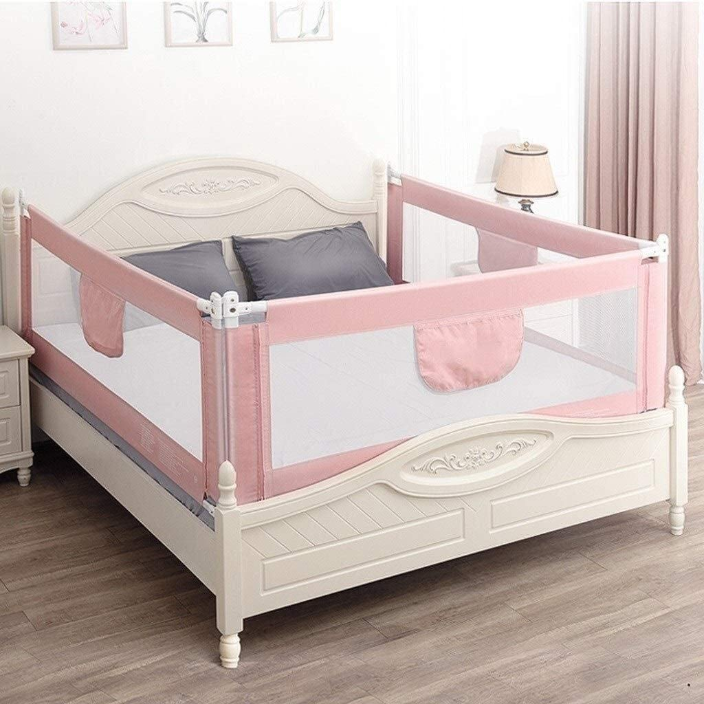 GDNA 子供のベッドサイドベゼルを持ち上げポータブル折りたたみベッド子供ベッドフェンス3個落下防止保護垂直 (Color : Pink, Size : 2x2.2x2.2m)