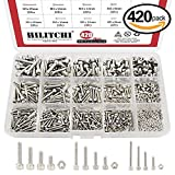 Hilitchi 420pcs M2 3 4 304 Stainless Steel Hex Socket Head Cap Screws Nuts Assortment Kit with Box (304 Stainless Steel)