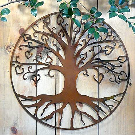 Amazon.com : Elizabeth Keith Designs Tree of Life with Hearts Metal ...
