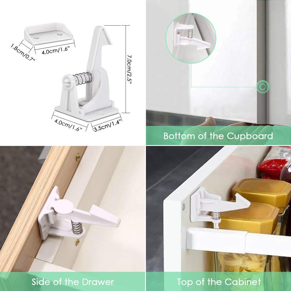 Sundell 10 Piezas Cerraduras de Seguridad Puertas Ni/ños Blanco Cajones Bloqueo Totalmente Invisible Cierres para Armarios