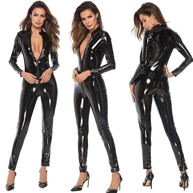 4819cfa8126df Sanyalei Women's Sexy PU Faux Wet Look Zipper Front Leather Catsuit Teddy  Clubwear