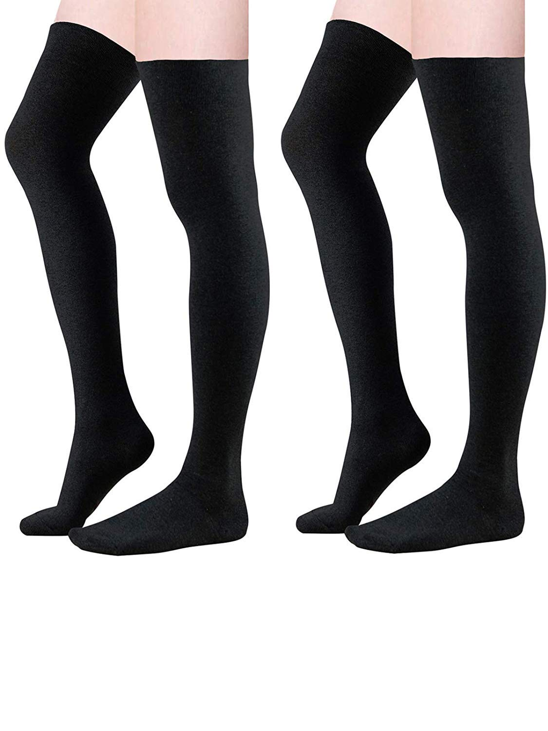 Zando Women Plus Size Thigh High Socks Over Knee Tube Stocking Sock Cotton High Leg Warmers Warm Cosplay Legging Sock 2 Pairs Black One Size