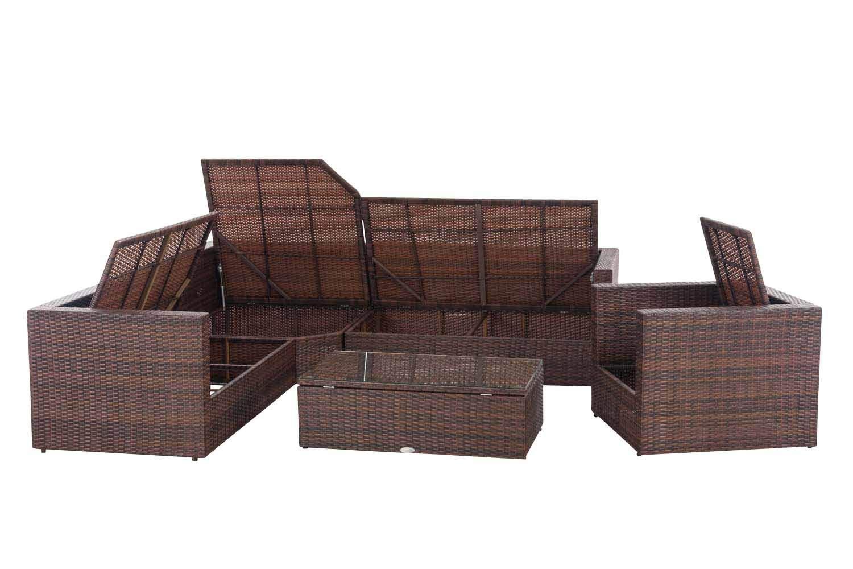 Clp Polyrattan Gartenlounge Tibera Xxl Mit Stauraum Garten Set Mit 6 Sitzplätzen 2 X 2er Sofa 1x Sessel 1x Ecksofa 1x Tisch Braun Meliert
