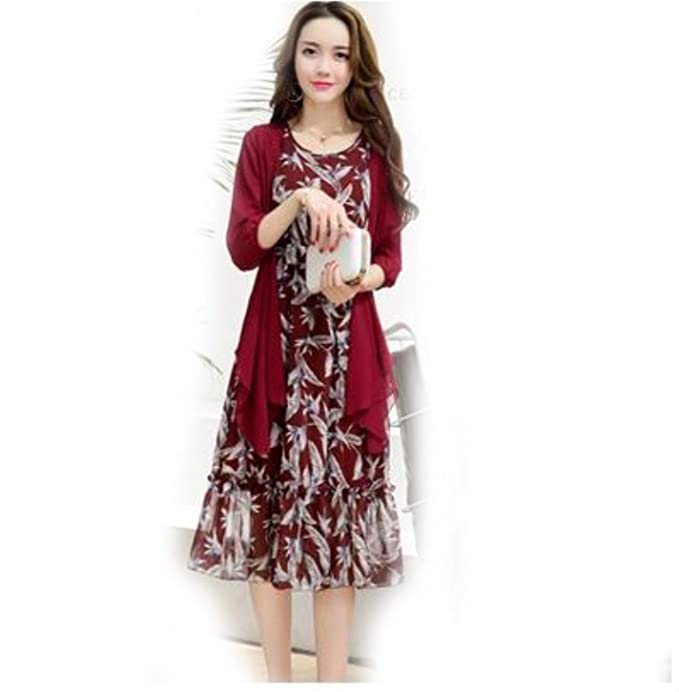 ノースリーブドレスショールコートフラワープリントドレス