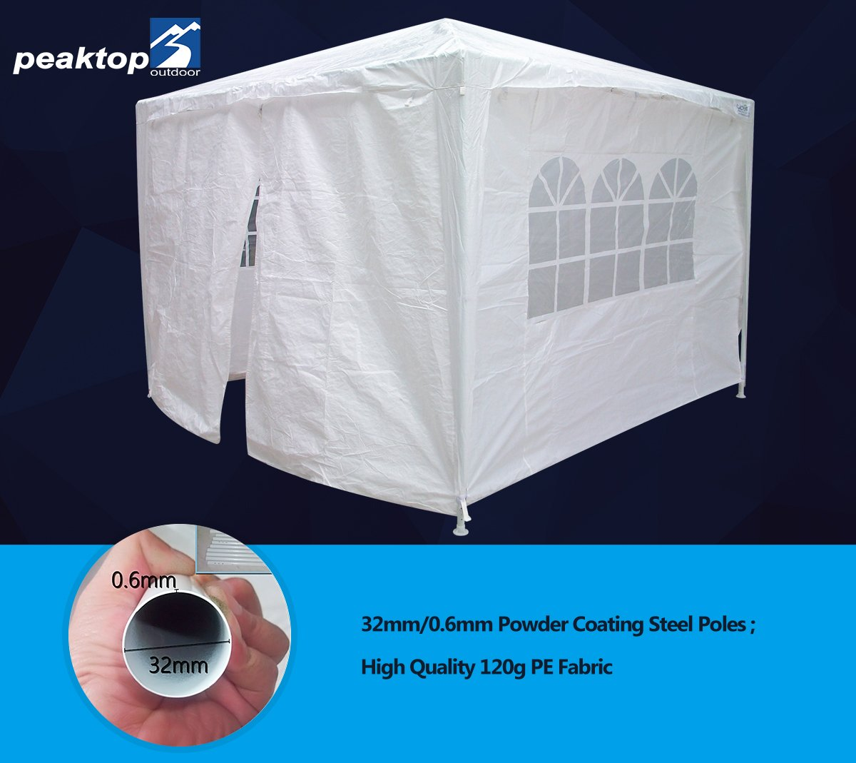 Peaktop 10'x10' Outdoor Party Wedding Tent Canopy Gazebo Storage Shelter Pavilion Multiple Choices (White, 10X10)