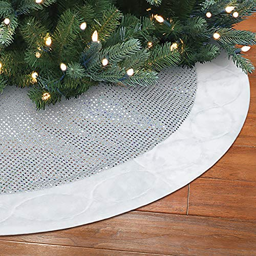 New Traditions 48 inch Sequin Tree Skirt with White Plush Border and Embroidery - Silver