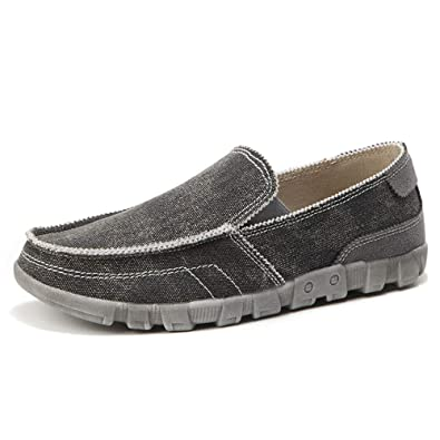 LANSEYAOJI Hombre Mocasines Retro Zapatos de Lona Moda Zapatos para Caminar Planos Zapatos de Barco Clásico Zapatos de Negocios Casual Sneakers Slip on ...