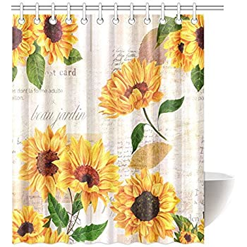 InterestPrint Vintage Style Floral Shower Curtain Vibrant Yellow Watercolor Sunflowers On The Background Of Old Letters And Newspaper Bathroom