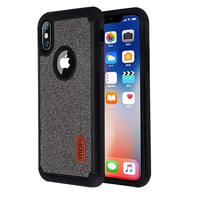 online store 26417 db5b8 iPhone x Case, Mofi 2 in 1 Thickened Case, Anti-Scratch Shock-Absorbing  Fabric Business Men Covers with Silicone Soft Edges and Great Grip, ...